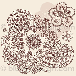 Huge Ornate Henna Paisley Doodle Tattoo Flower and Swirls by blue67design | by blue67design