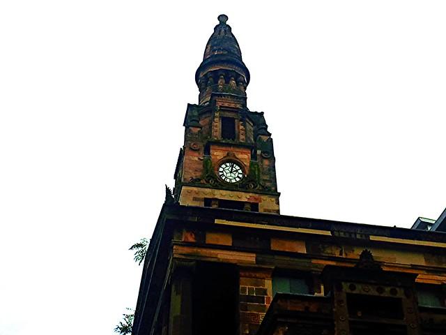 Exterior architecture at St Vincent St Church, Glasgow, Scotland.