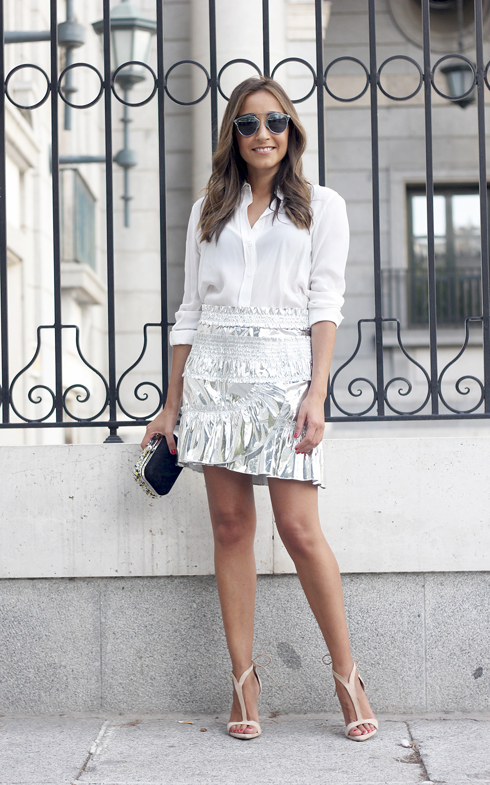 Isabel Marant Metallic Skirt white shirt nude sandals dior so real sunnies outfit style fashion27