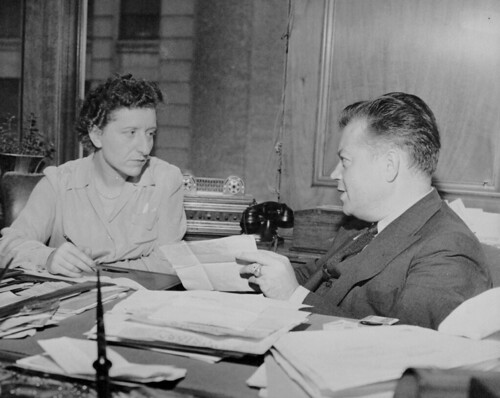Hanna Haskel and David Dubinsky in Dubinsky's office | by Kheel Center, Cornell University Library