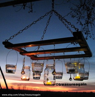 Mason Jar chandelier, candle | by TreasureAgain
