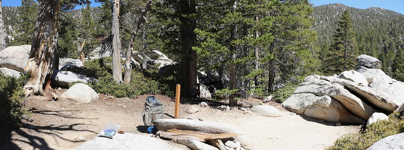Panorama shot of the Nutcracker Perch Campsite in Little Round Valley