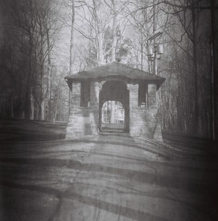 Hamilton College arch on walkway up College Hill Road, Clinton, N.Y. - Shot on 60-year-old Kodak 120 B&W stock | by chuckthewriter