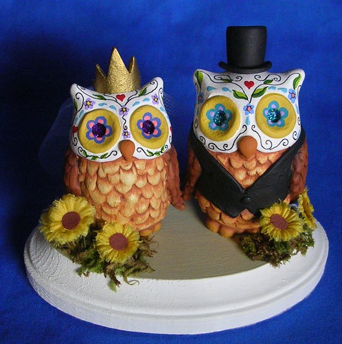 Day of the Dead Owls Wedding Cake Topper | by claylindo