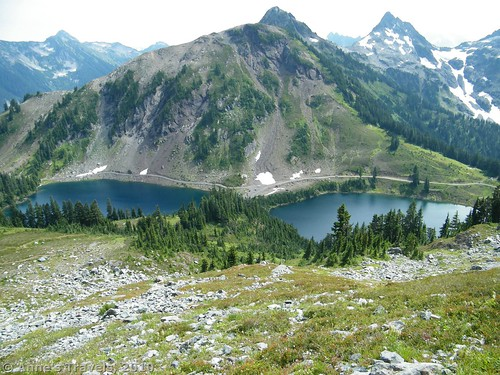 Views down on the Twin Lakes from Winchester Mountain, Mount Baker-Snoqualmie National Forest, Washington