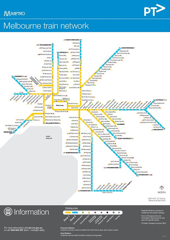 PTV Metro train map, 2013