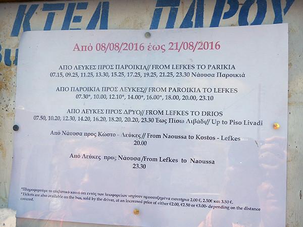 les horaires de bus à Paros