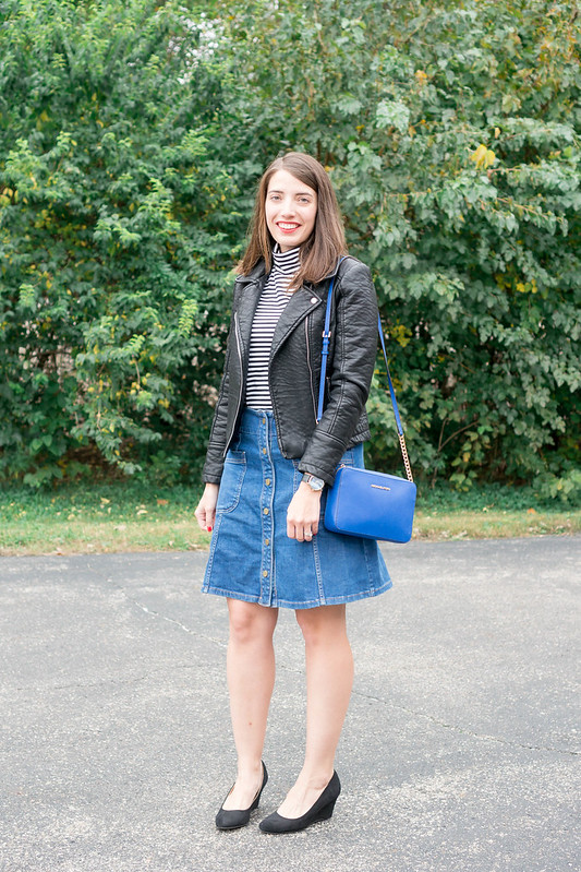 striped turtleneck + leather jacket + denim button skirt + black Merona wedges + michael kors purse | Style On Target blog