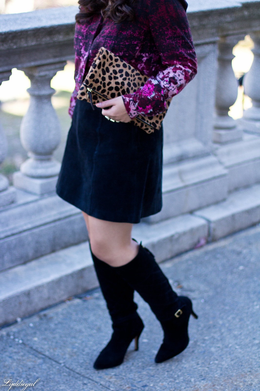 floral blouse, black suede mini skirt, knee high boots-3.jpg