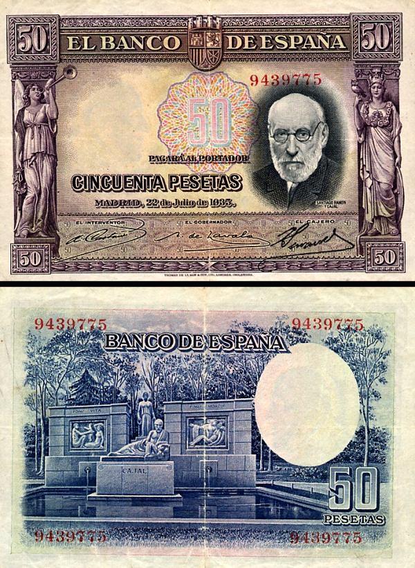 50 Pesetas Španielsko 1935, P88
