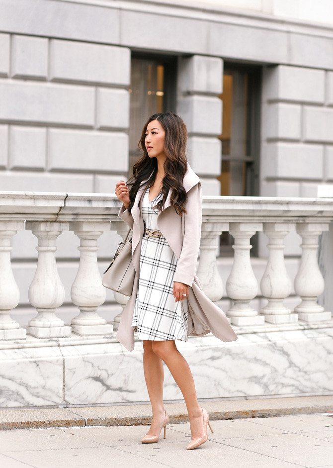 classic work outfit club monaco trench modest dress_extra petite blog