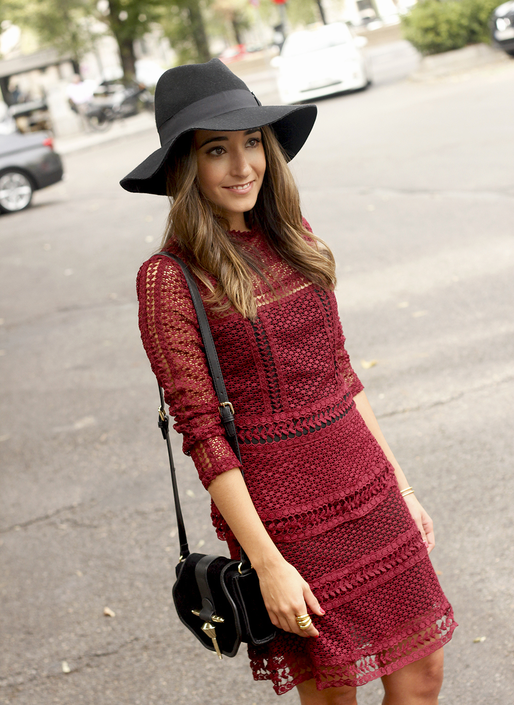 burgundy lace dress black heels hat accessories outfit fashion style19
