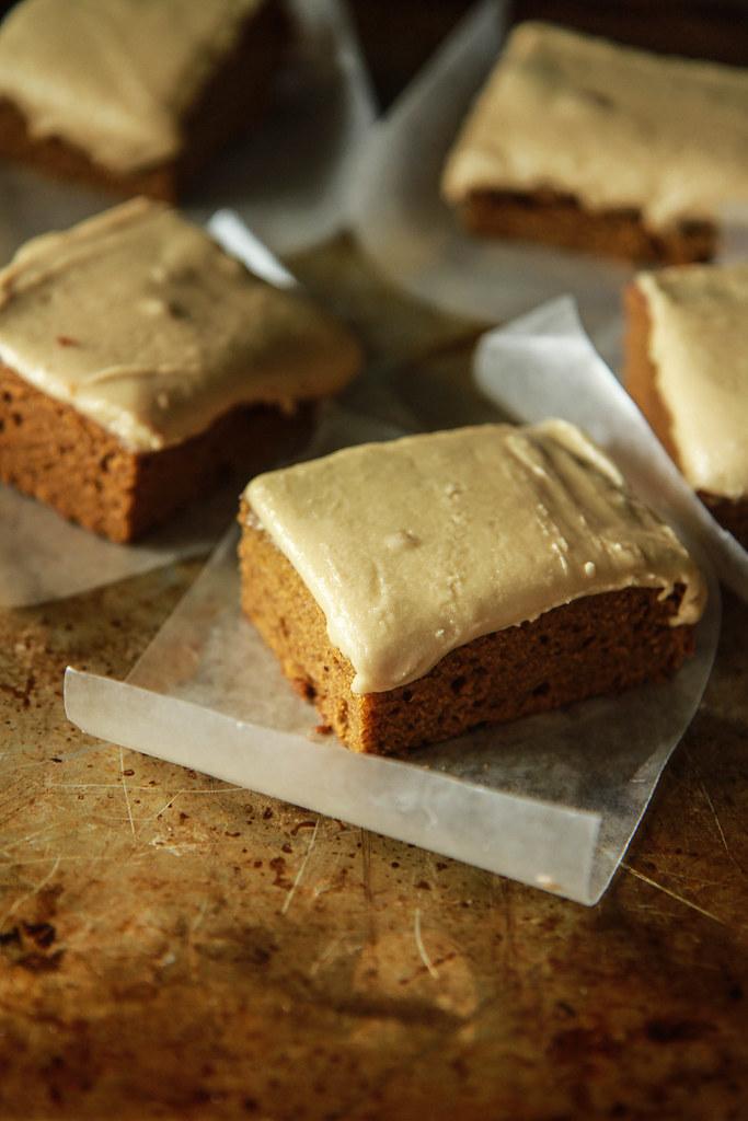Gingerbread Pumpkin Sheet Cake with Espresso Caramel Frosting- Vegan and GlutenFree from HeatherChristo.com