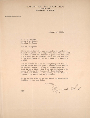 Letter from Reginald Poland to A.C. Goodyear on October 13, 1926 | by Albright-Knox Art Gallery