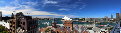 Holiday Inn roof Panorama view of Sydney Opera House, Harbour and Circular Quay - The Rocks, Sydney, Australia