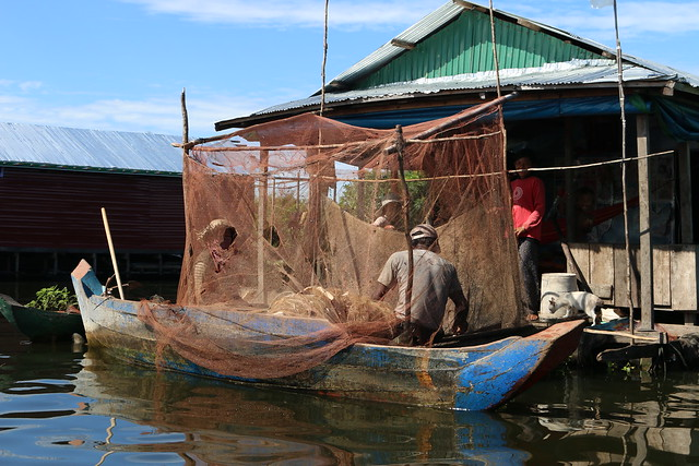 Bringing in the catch. Fishers in a village of Tonle Sap, Cambodia. Photo by Robert Nurick.