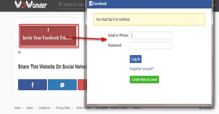 Facebook Invite Addon For WoWonder by prashantre CodeCanyon