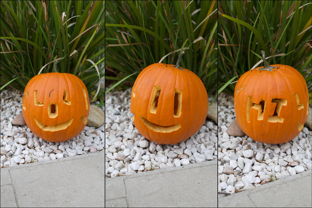 Three faced pumpkin