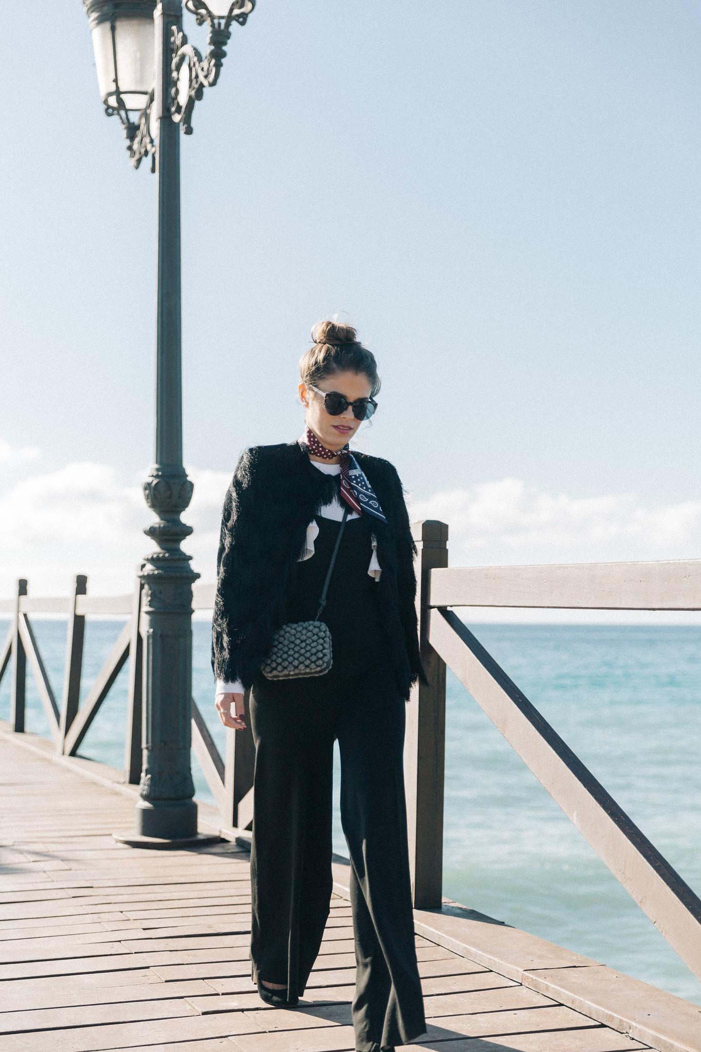 Jessie Chanes Seams for a desire - black jumpsuit ruffled white top abbacino marbella club -2