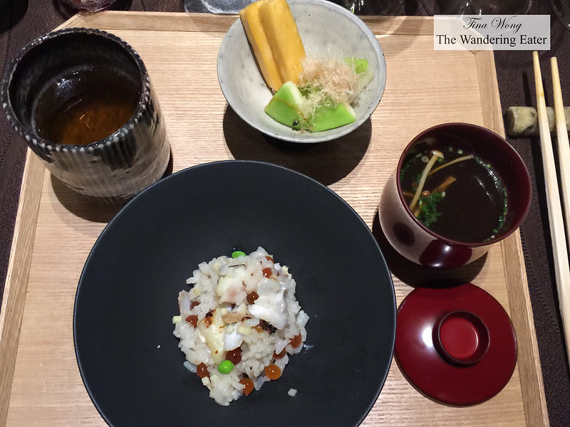 Course 8 - Complete tray of Koshi-hikari rice, sea perch, salmon roe (ikura), sencha tea, mushroom broth and pickled vegetables topped with bonito shavings