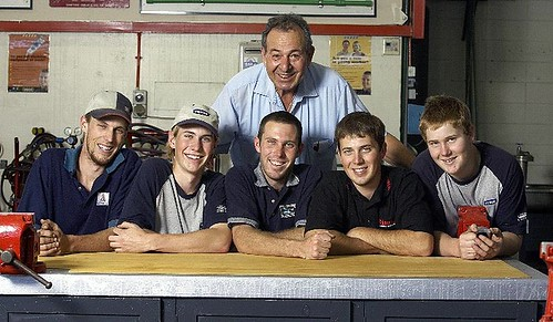 Weaver plumber boys with their instructor at Fremantle TAFE, 2005