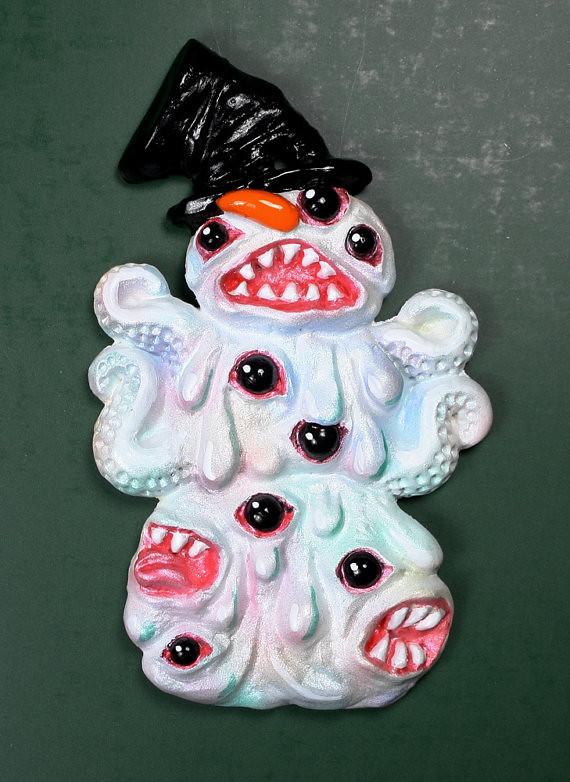 Shoggoth Snowman Christmas Tree Ornament by Draig Athar Designs