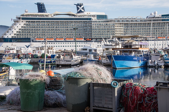 fishing nets vs floating hotel (cruise ship)