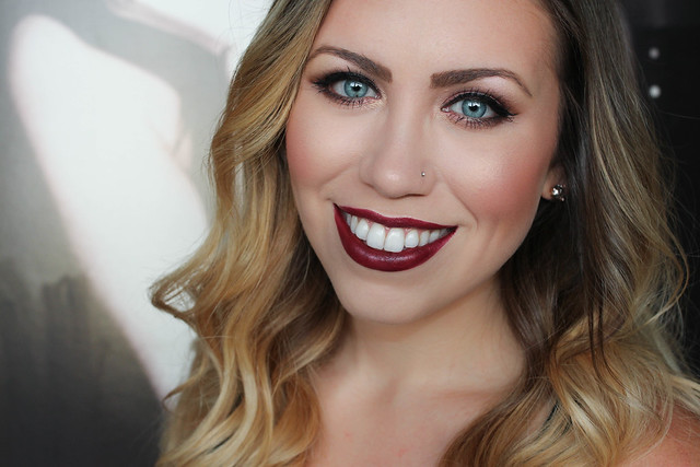 Revlon Black Cherry Lipstick bareMinerals The Instant Attraction Eyeshadow Palette Rose Cat Eye Living After Midnite Makeup Beauty Tutorial Jackie Giardina