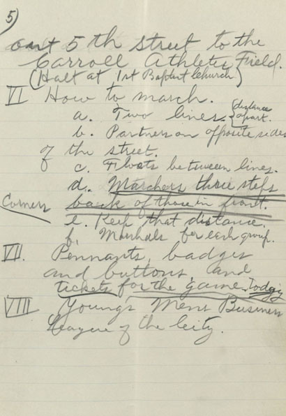 Frank Guittard's Baylor Homecoming parade notes (page 5), 1915