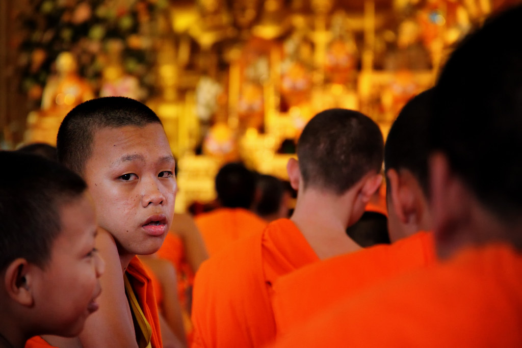 A Novice Monk Distracted By A Photographer