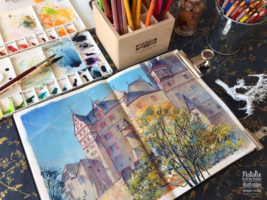Drawing from life in Eltz Castle