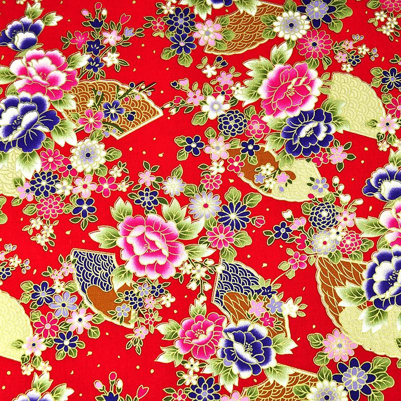 烫金和风牡丹 富贵烫金花卉 手工艺diy拼布布料 cf550516