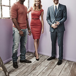 DB Woodside, Tricia Helfer and Tom Ellis from FOX's 'Lucifer' pose for a portrait during the 2016 Television Critics Association Summer Tour