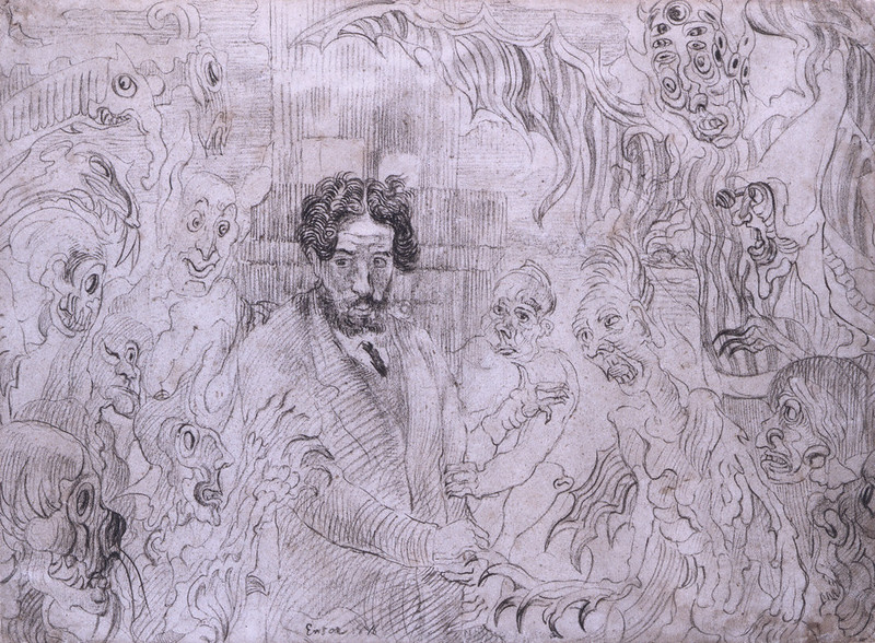 James Ensor - Demons Teasing Me, original drawing, 1895