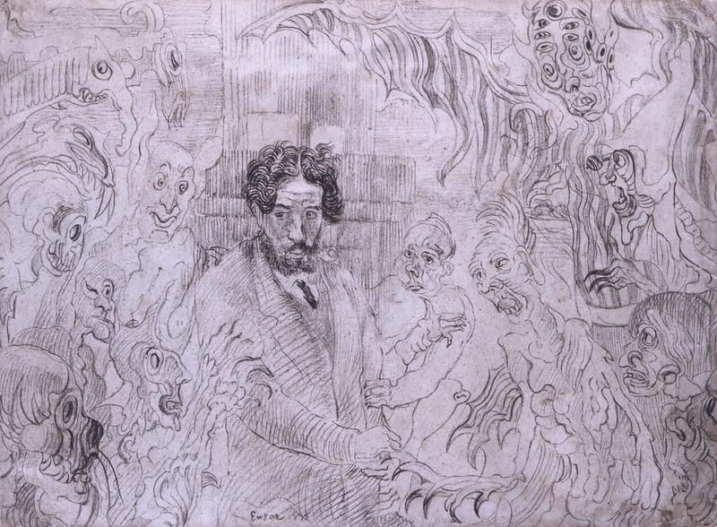 James Ensor - Demons Teasing Me, original drawing, 1895
