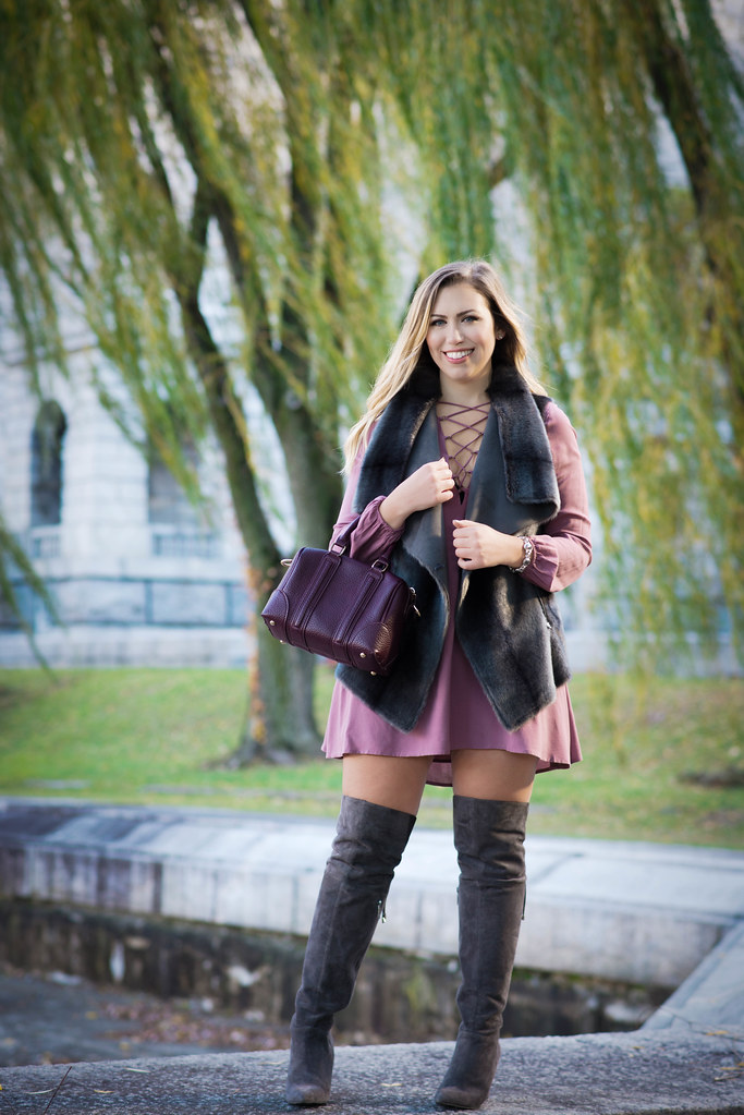 Tobi Lace Up Purple Dress | Gray Fur Vest | Gray Suede Over the Knee Boots | Fall Outfit Living After Midnite Style Jackie Giardina