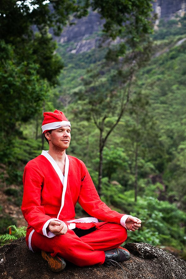 Santa Claus meditation in Sri Lanka
