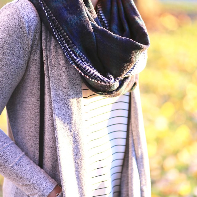 LOFT Mixed Plaid Infinity Scarf