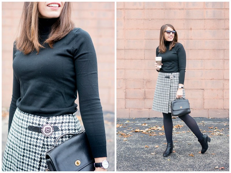black turtleneck + houndstooth plaid Boden skirt + tights + black ankle boots + winter work outfit | Style On Target