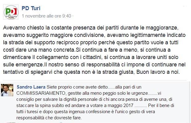 L'ammissione di colpa di Gravinese e il commento di Laera