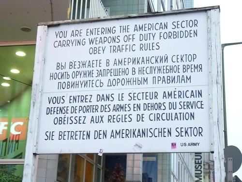 Checkpoint Charlie Betreten des Amerikanischen Sektors