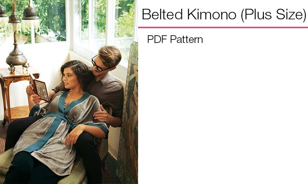 Plus belted kimono