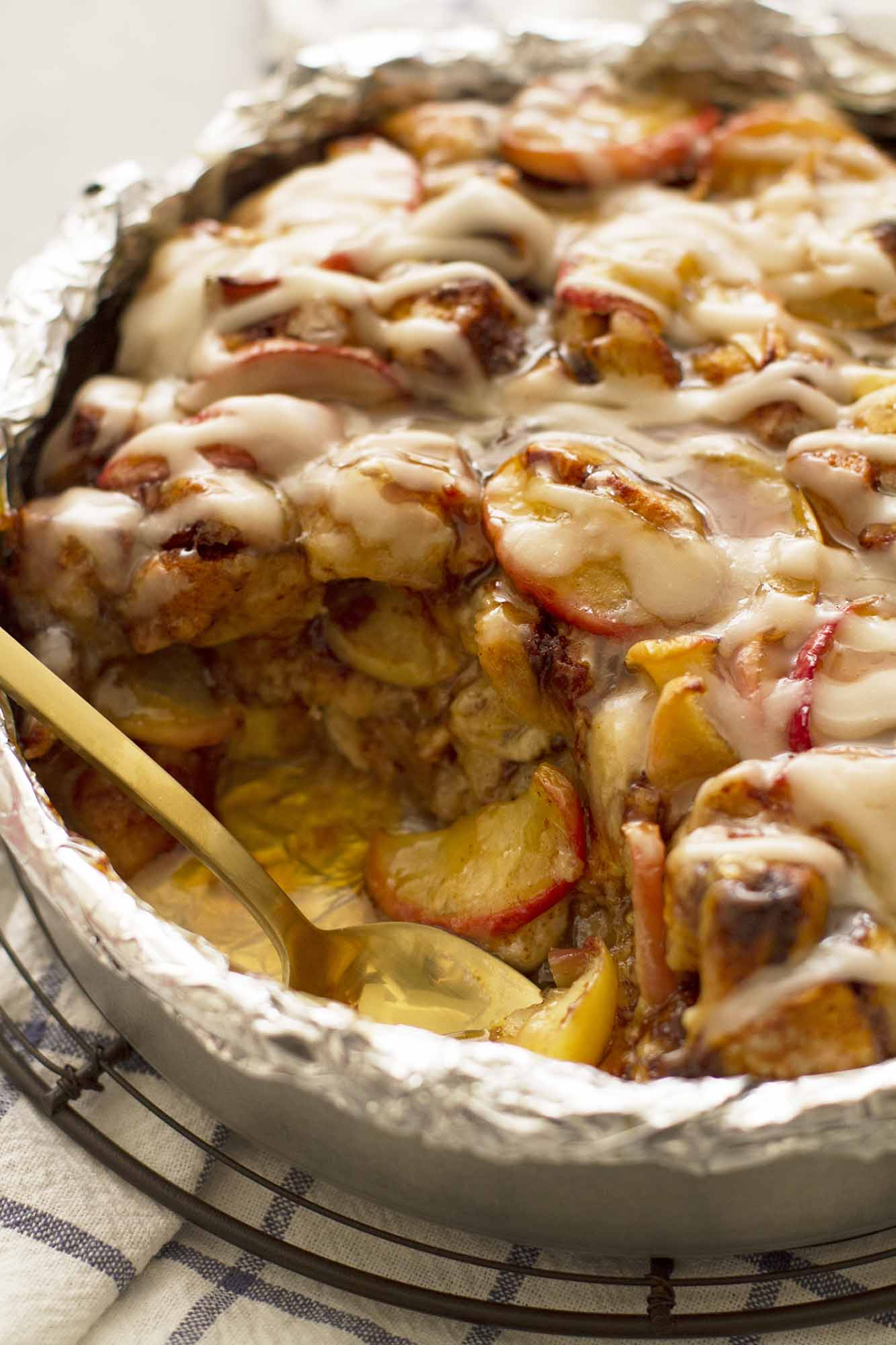 Caramel Apple Cinnamon Roll Breakfast Bread Pudding | girlversusdough.com @girlversusdough