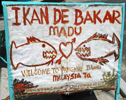 Handmade sign with fish at Pankor Island in Malaysia
