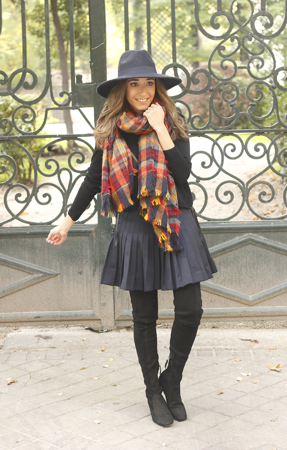 blue pleated skirt with over the knee boots blue hat black jersey outfit style 04