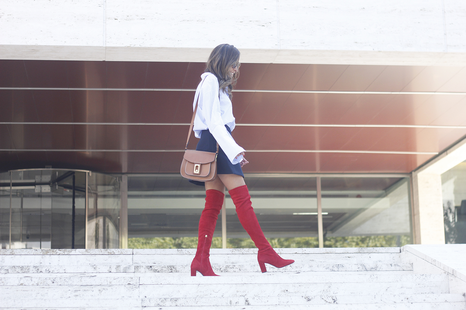 Red over the knee boots blue skirt sunnies accessories outfit style fashion10