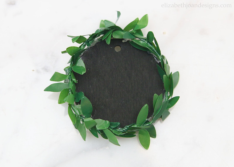 Wrap garland around Mini Chalkboard Wreath
