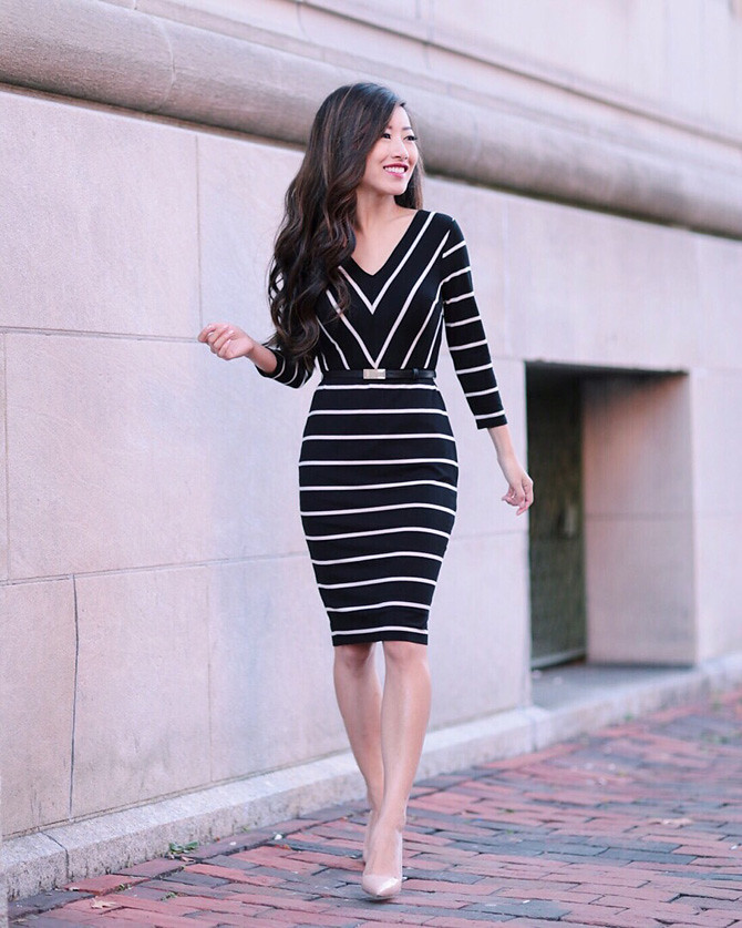white house black market petite stripe pencil dress