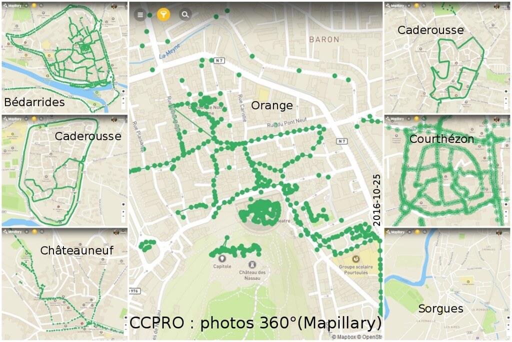 Composition couverture 360° dans Mapillary