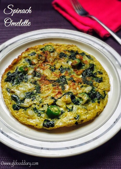 Spinach Omelette Recipe for Babies, Toddlers and Kids2
